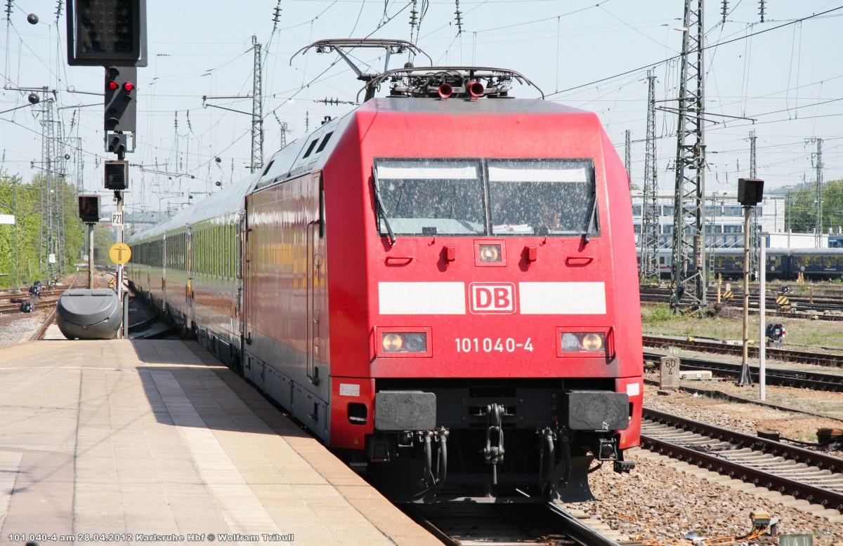 101 040-4 mit dem IC aufgenommen bei der Einfahrt in den Hauptbahnhof Karlsruhe am 28.04.2012