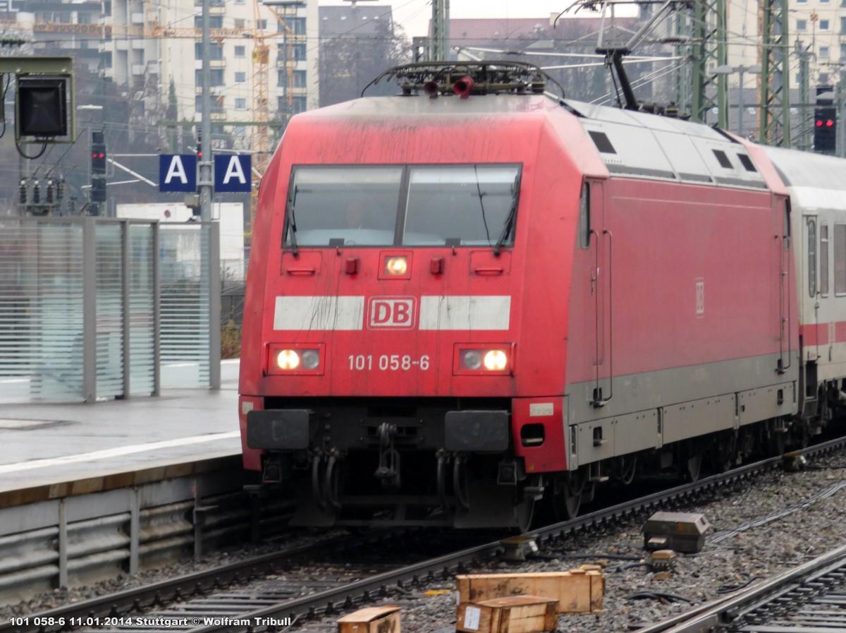 101 058-6 aufgenommen am 11.01.2014 im Hauptbahnhof Stuttgart