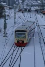 650-630-6-hzl-234/47793/der-br-650-regioshuttle-der-hzl Der BR 650 Regioshuttle der HZL auf dem Weg von Bräunlingen nach Trossingen Stadt im Donaueschinger Bahnhof aufgenommen am 02.01.2010