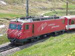 1/593380/hge-44-ii---1-der HGe 4/4 II - 1 der Matterhorn-Gotthard-Bahn mit dem Namen Matterhorn von Andermatt nach Disentis aufgenommen am 04.06.2015 zwischen Andermatt und dem Oberalppass